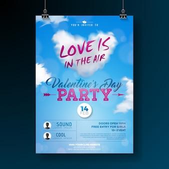 Walentynki-dzień projekt ulotki strony z typografii i chmura serca na niebieskim tle.