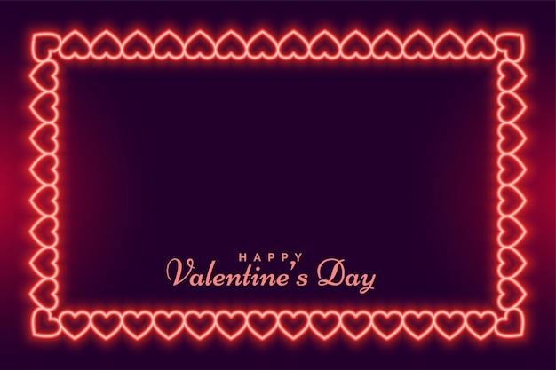 Walentynki-dzień rama neon serca projekt karty z pozdrowieniami