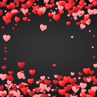Walentynki-dzień tło. projekt ilustracji na zaproszenie na ślub, walentynki. serca konfetti, romantyczne tło. na ciemnym tle