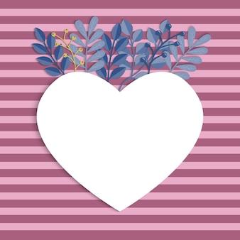 Walentynki-dzień tło. rama serce z liści