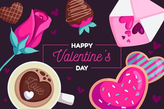 Walentynki-dzień tło w płaska konstrukcja