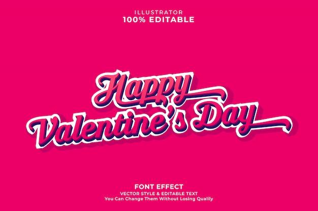 Walentynki edytowalny tekst efekt-wektor premium