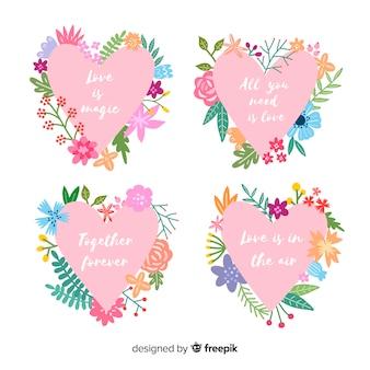 Walentynki etykieta pakiet kwiatowy serca serca
