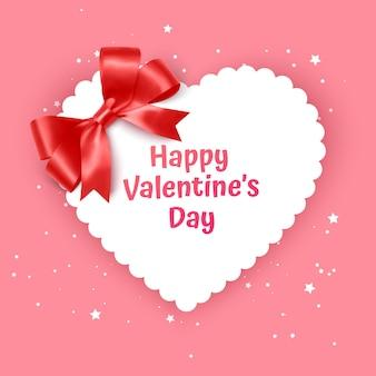 Walentynki Gift Card Holiday Love Heart Shape Illustration Z Realistyczną Kokardką Premium Wektorów