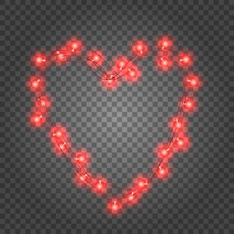 Walentynki girlanda czerwonych żarówek