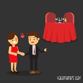 Walentynki i małych ludzi, szczęśliwych ludzi robi romantyczną kolację