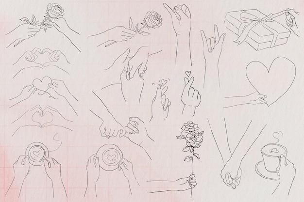 Walentynki i miłość gesty dłoni psd czarno-biały zestaw ilustracji
