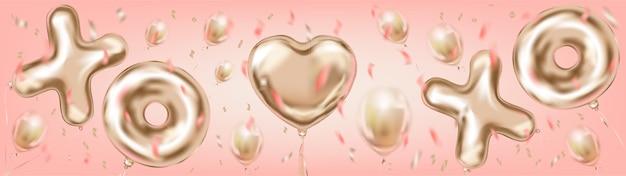 Walentynki i złoty nagłówek z napisem xoxo