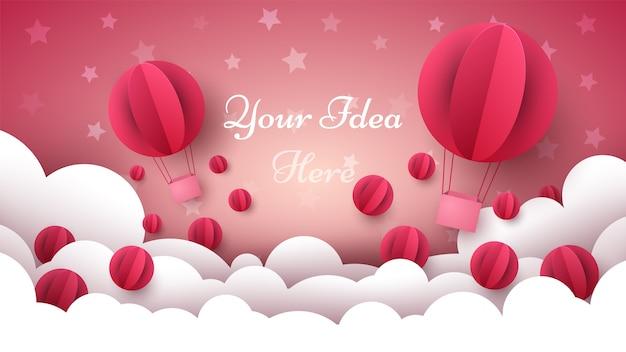 Walentynki ilustracja. balon, serce, chmura.