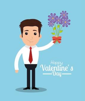 Walentynki ilustracja mężczyzny z bukietem kwiatów