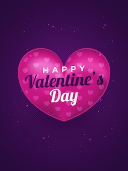 Walentynki ilustracja z 3d różowymi sercami i efektem brokatu