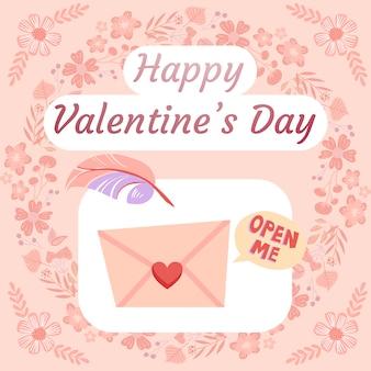 Walentynki ilustracja z list miłosny i pióro, kwiatowy wieniec