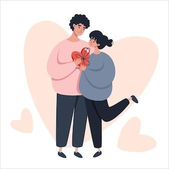 Walentynki ilustracja z zakochaną parą