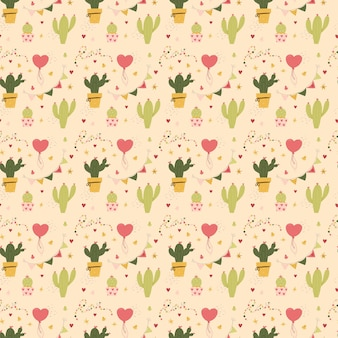 Walentynki kaktus wzór i serca