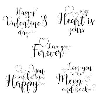 Walentynki kaligrafia cytat wektor szablon (motyw miłości)