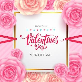Walentynki kaligraficzna napis z pięknym kwiatkiem na kartkę z życzeniami.