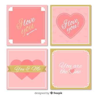 Walentynki karta kolekcja złote szczegóły
