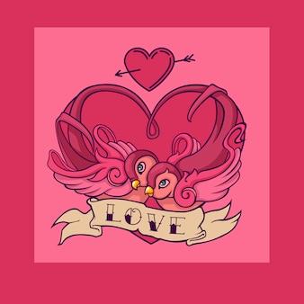 Walentynki karta piękny tatuaż połyka ptaki. old school tatuaż jaskółki.