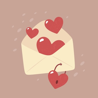 Walentynki - karta w stylu płaski.