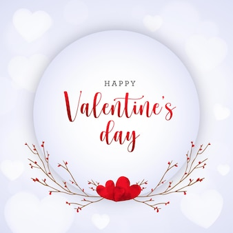 Walentynki karta z akwarelowymi sercami i gałęziami