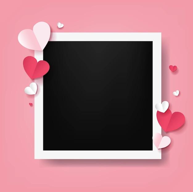 Walentynki karta z czerwonymi sercami