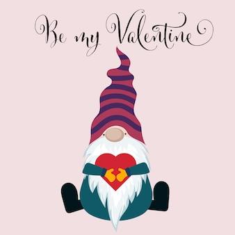 Walentynki karta z gnomem