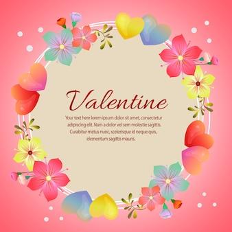 Walentynki karta z kształtem miłości i miękki kwiat