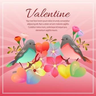 Walentynki karta z miłość kształta kwiatem i para ptakiem