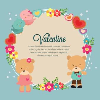 Walentynki karta z niedźwiedziem i kwiatem