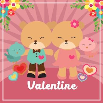 Walentynki karta z para niedźwiedziem i ptakiem