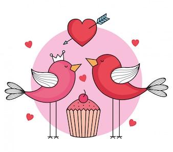 Walentynki karta z ptakami i ciastko
