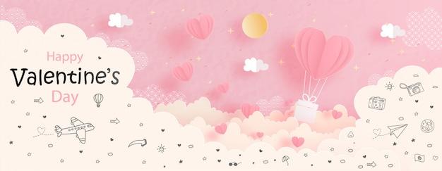 Walentynki karta z serce balonem