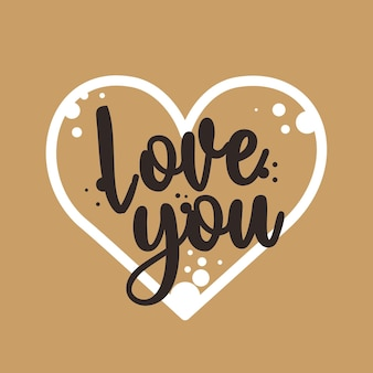 Walentynki karta z sercem i kocham cię tekstem.