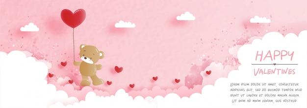 Walentynki karta z uroczym misiem w wyciętym z papieru stylu ilustracji.