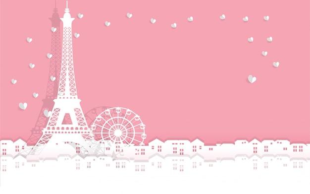 Walentynki karta z wieży eiffla z wyciętym sercem papieru. wszystko w stylu papieru wyciąć chory styl