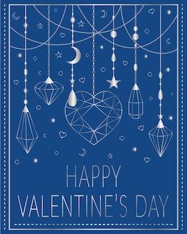 Walentynki kartkę z życzeniami biżuteria srebrna na niebieskim tle