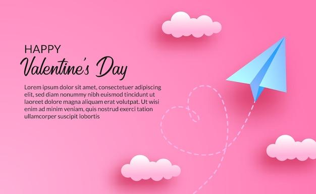 Walentynki kartkę z życzeniami i koncepcja miłości. papierowy styl z niebieskim papierowym samolotem origami z chmurami na różowym tle nieba