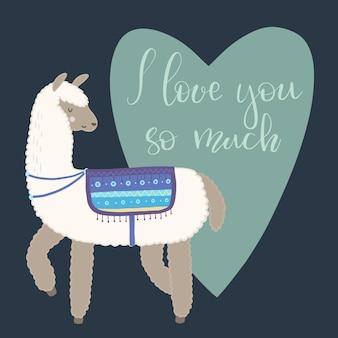 Walentynki kartkę z życzeniami. śliczna lama z ręka rysującymi elementami. bardzo cię kocham.