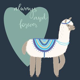 Walentynki kartkę z życzeniami. śliczna lama z ręka rysującymi elementami. zawsze i na zawsze.