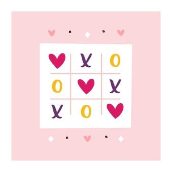 Walentynki kartkę z życzeniami świątecznymi. miłość clipart. gra w kółko i krzyżyk.