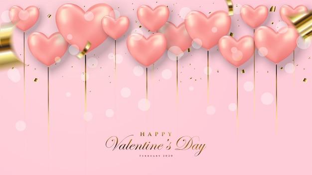 Walentynki kartkę z życzeniami. z 3d ilustracją czerwonego balonu miłości.