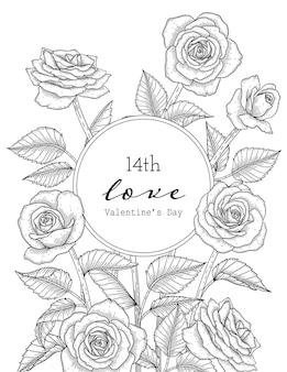 Walentynki Kartkę Z życzeniami Z Kwiatami Premium Wektorów
