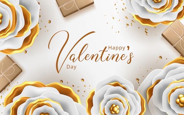 Walentynki kartkę z życzeniami z kwiatów tła