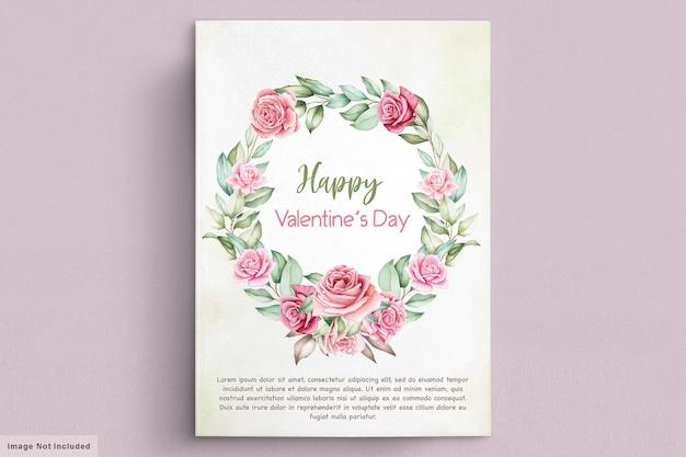 Walentynki kartkę z życzeniami z pięknym kwiatowym i liśćmi