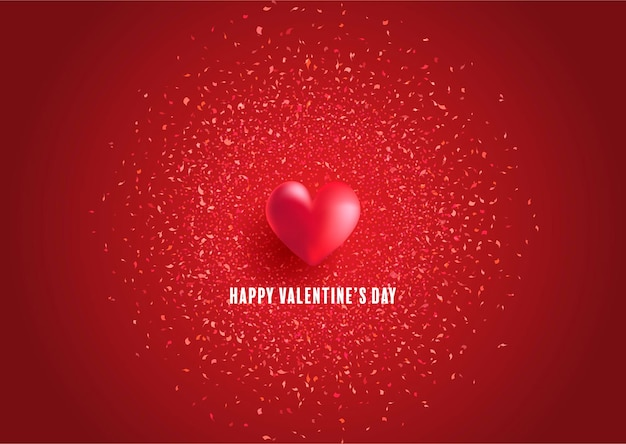 Walentynki kartkę z życzeniami z projektem serca i konfetti
