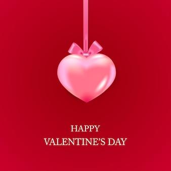 Walentynki kartkę z życzeniami z różowym sercem