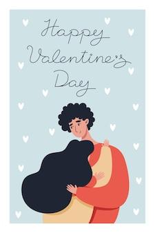 Walentynki kartkę z życzeniami z zakochaną parą i napisem