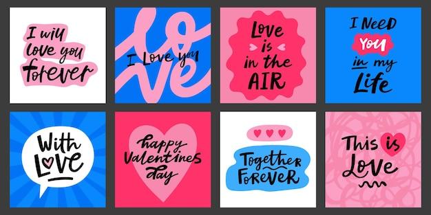 Walentynki kartki z życzeniami z odręcznymi cytatami napis. kocham cię plakaty wektorowe.