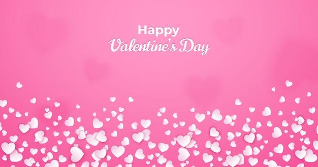 Walentynki karty, streszczenie różowy tło z białych serc pływających