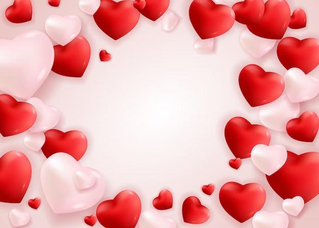 Walentynki karty z pozdrowieniami miłości i uczuć projekt tła.